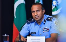 Commissioner of Police Mohamed Hameed addresses press during a joint conference hosted by Maldives Police Service and Maldives National Defence Force, to discuss Maldives response over COVID-19. PHOTO: MIHAARU