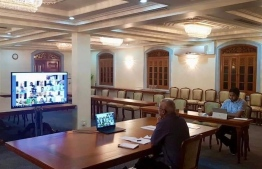 President Ibrahim Mohamed Solih holding a virtual meeting with members of the COVID-19 taskforce from Muleeaage. The ongoing global health crisis forced institutions to conduct many of their operations online, to contain the outbreak with minimal physical interaction. PHOTO: PRESIDENT'S OFFICE