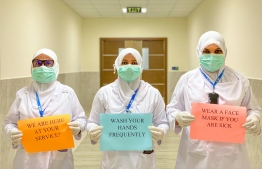 Nurses at Addu Equatorial Hospital send a small message to the citizens of Maldives. Heavily involved in the caretaking of patients, nurses face a great risk of infection, but work tirelessly to serve the needs of people that are suffering, every day. PHOTO: AEH / TWITTER