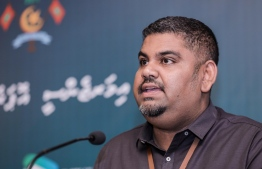 Communications Undersecretary at the President's Office Mabrouq Abdul Azeez speaking during Sunday's emergency press conference.