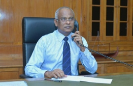 President Ibrahim Mohamed Solih on a phone call with the Prime Minister of India Narendra Modi. Both leaders discussed the ongoing COVID-19 pandemic. PHOTO: PRESIDENT'S OFFICE