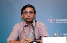 Dr Moosa Murad speaking at the NEOC press conference on Thursday. PHOTO: MIHAARU