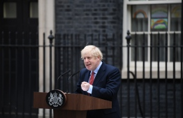 Britain's Prime Minister Boris Johnson gives a statement in Downing Street in central London on April 27, 2020 after returning to work following more than three weeks off after being hospitalised with the COVID-19 illness. - British Prime Minister Boris Johnson returns to work on Monday more than three weeks after being hospitalised with the novel coronavirus and spending three days in intensive care. Johnson, one of the highest-profile people to have contracted the virus, returned to 10 Downing Street on Sunday evening. (Photo by DANIEL LEAL-OLIVAS / AFP)
