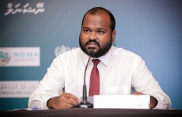 Tourism Minister Ali Waheed speaks at NEOC press briefing on the COVID-19 situation in Maldives. PHOTO/NEOC