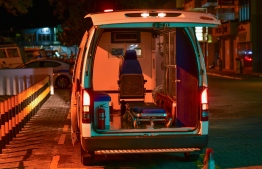 An ambulance deployed in Male' City amid lockdown. FILE PHOTO/MIHAARU