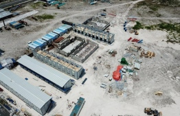 An aerial photograph of the ongoing construction of the Chinese built expatriate labour quarters. PHOTO: HULHUMALE DEVELOPMENT CORPORATION