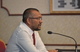 Minister of Economic Development Fayyaz Ismail during a NEOC press conference. PHOTO: MIHAARU