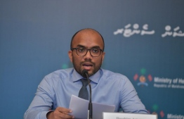 Minister of Finance Ibrahim Ameer speaking at the COVID-19 press briefing held on Thursday afternoon by National Emergency Operations Centre (NEOC). PHOTO: NEOC