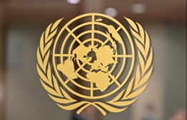 (FILES) In this file photo taken on September 24, 2019 the United Nations logo is seen at the United Nations Headquarters in New York. - Four European members of the UN Security Council said April 28, 2020 that sanctions on Venezuela have had no impact on medical aid to the Latin American country, following a closed-door videoconference. (Photo by Angela Weiss / AFP)