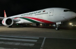 The Biman aircraft that brought in supplies for COVID Village. PHOTO: MALDIVIAN