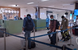 Passengers of INS Jalashwa at the Maldivian Immigration counter. PHOTO: IMMIGRATION