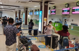 Thai nationals check in at Velana International Airport for their repatriation flight on May 17, 2020. PHOTO/ROYAL THAI CONSULATE