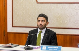 Minister of Health Abdulla Ameen at the virtual World Health Assembly. PHOTO: MINISTRY OF HEALTH