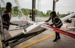 A drone company delivering of medical supplies in Ghana has started delivering coronavirus tests to hard-to-reach rural areas. PHOTO: RUTH MCDOWALL / AFP