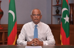 President Ibrahim Mohamed Solih during his national address on Wednesday evening. PHOTO: PRESIDENT'S OFFICE