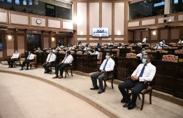 Parliament members participating in Tuesday's session with social distancing measures in place. PHOTO: PARLIAMENT SECRETRIAT