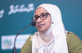 Managing Director (MD) of Aasandha Company Ltd Mariyam Shafeeq speaking at a press conference held by the National Emergency Operations Centre (NEOC). PHOTO: NEOC