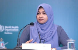 Fathimath Yumna, Deputy Minister at the Ministry of Gender, Family and Social Services, addresses press at NEOC on June 1, 2020. PHOTO: MIHAARU