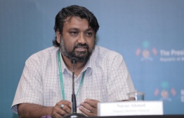 Nayaz Ahmed, Deputy director-general, Health ministry speaks at the media briefing at NEOC. PHOTO: NEOC