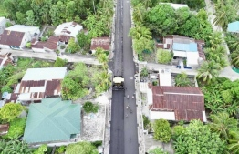 Bahaudheen Magu is 2.2 km long and runs through the island's two towns; Hulhudhoo and Meedhoo. According to MTCC, the ongoing work to pave the road with asphalt is nearly complete and will conclude on August 31. PHOTO: MTCC