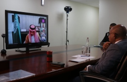 Foreign Minister Abdulla Shahid participates in the virtual Extraordinary Meeting of the Organization of Islamic Cooperation (OIC) Executive Committee on June 10, 2020, to discuss Israel's plans to annex large parts of the occupied West Bank in Palestine. PHOTO/FOREIGN MINISTRY