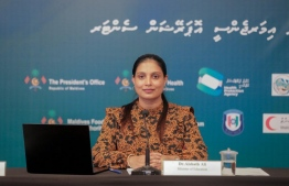 Education minister Dr Aishath AliMinister of Education Dr Aishath Ali at Monday's NEOC press conference. PHOTO: NEOC