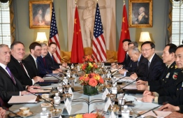 (FILES) In this file photo taken on November 09, 2018 US Defense Secretary Jim Mattis (2nd L) and Secretary of State Mike Pompeo (3rd L) meet with Chinese politburo member Yang Jiechi (3rd R) and and Defense Minister Wei Fenghe (2nd R) during the US-China Diplomatic and Security Dialogue at the State Department in Washington, DC. - US Secretary of State Mike Pompeo will meet a top Chinese official in Hawaii June 17, 2020 in the powers' first senior-level talks since tensions skyrocketed over the coronavirus pandemic, reports said. (Photo by MANDEL NGAN / AFP)