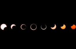 Annular eclipses occur when the Moon is not close enough to Earth to completely obscure sunlight, leaving a thin ring of the solar disc visible. PHOTO: GETTY IMAGES NORTH AMERICA / AFP