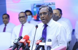 Former President Dr Mohamed Waheed speaking at the conference held at Progressive Party of Maldives (PPM)'s head office. PHOTO: PPM