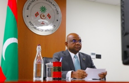 Foreign Minister Abdulla Shahid gives his remarks at a virtual conference. PHOTO/FOREIGN MINISTRY