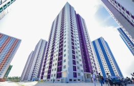 The social housing towers developed under the Hiyaa Project in Hulhumale's second phase. PHOTO: AHMED AWSHAN ILYAS / MIHAARU