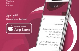 An advertisement depicting the IOS application for Judge Husnu Al-Suood's legal dictionary 'Qaanoonee Radheef'. PHOTO: MALDIVES LAW INSTITUTE