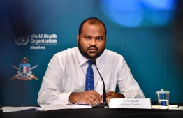 Minister of Tourism Ali Waheed speaks at the media briefing held at the National Emergency Operations Center on June 24. PHOTO: NEOC