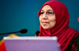 Gender Minister Aishath Mohamed Didi addresses NEOC's regularly-held  media briefing. PHOTO: NEOC