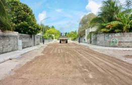 Ongoing road development project in Hanimaadhoo, Haa Dhaalu Atoll. PHOTO: MTCC