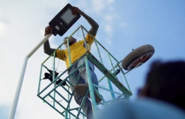 Bank of Maldives installed solar-powered streetlights in Kumundhoo, Haa Alif Atoll. PHOTO: BANK OF MALDIVES