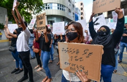Protestors gather on the streets of Male' City, against all forms of sexual violence and to hold perpetrators and the authorities accountable, on June 29, 2020. PHOTO: NISHAN ALI / MIHAARU