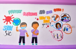 Illustrations at a school advocating for basic hygiene during the COVID-19 outbreak in the country. PHOTO: AHMED AWSHAN ILYAS / MIHAARU