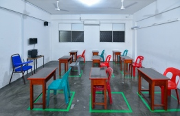 Socially distanced classrooms in Ahmadhiyya International School. The Ministry of Education has decided to postpone the new academic year to begin on August 10, 2020. PHOTO: AHMED AWSHAN ILYAS / MIHAARU