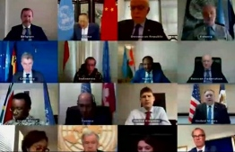 In this screen grab, courtesy video of the US Department of State, members of the UN Security Council listen to Secretary of State Mike Pompeo delivering remarks virtually from the State Department on June 30, 2020 in Washington, DC. (Photo by Handout / US State Department / AFP) /