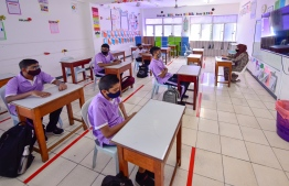 Students and teachers wear masks and practise social distancing as schools resume in Male' City amid the COVID-19 outbreak. PHOTO/MIHAARU