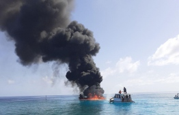 The speedboat which caught fire near Thaa Atoll Guraidhoo Island. PHOTO: MNDF