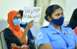 People protest against all forms of sexual abuse and sexual violence at a public forum held at the parliament on July 1, 2020. PHOTO: AHMED AWSHAN ILYAS/MIHAARU