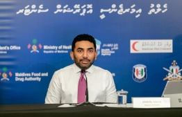 Minister of Health Abdulla Ameen speaking at the last press conference hosted by the National Emergency Operations Centre (NEOC). PHOTO: NEOC