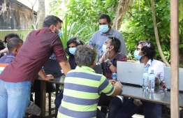 Lawyers operating on Bodufinolhu, Baa Atoll. PHOTO: MIHAARU