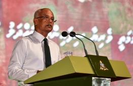 President Ibrahim Mohamed Solih delivering remarks for Maldives National Defence Force (MNDF)  personnel in a ceremony held at Kalhuthukkala Koshi (KK). PHOTO: AHMED AWSHAN/ MIHAARU
