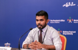 HPA Director Ahmed Nasir addressing the media during Tuesday's HEOC press conference. PHOTO: MIHAARU