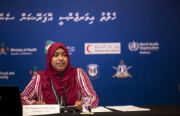 Health Emergency Operations Centre (HEOC)'s Spokesperson and HPA's Medical Officer Dr Nazla Rafeeq speaking at a press briefing. She assured frontliners will receiver their risk allowance with the salaries for the month of July. PHOTO: HEOC