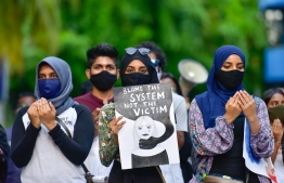 Protesters demanding justice for victims for rape and sexual assault. PHOTO: MIHAARU