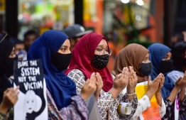 During a protest held on July 10, 2020 against the impunity of perpetrators of sexual violence. PHOTO: AHMED AWSHAN ILYWAS / MIHAARU